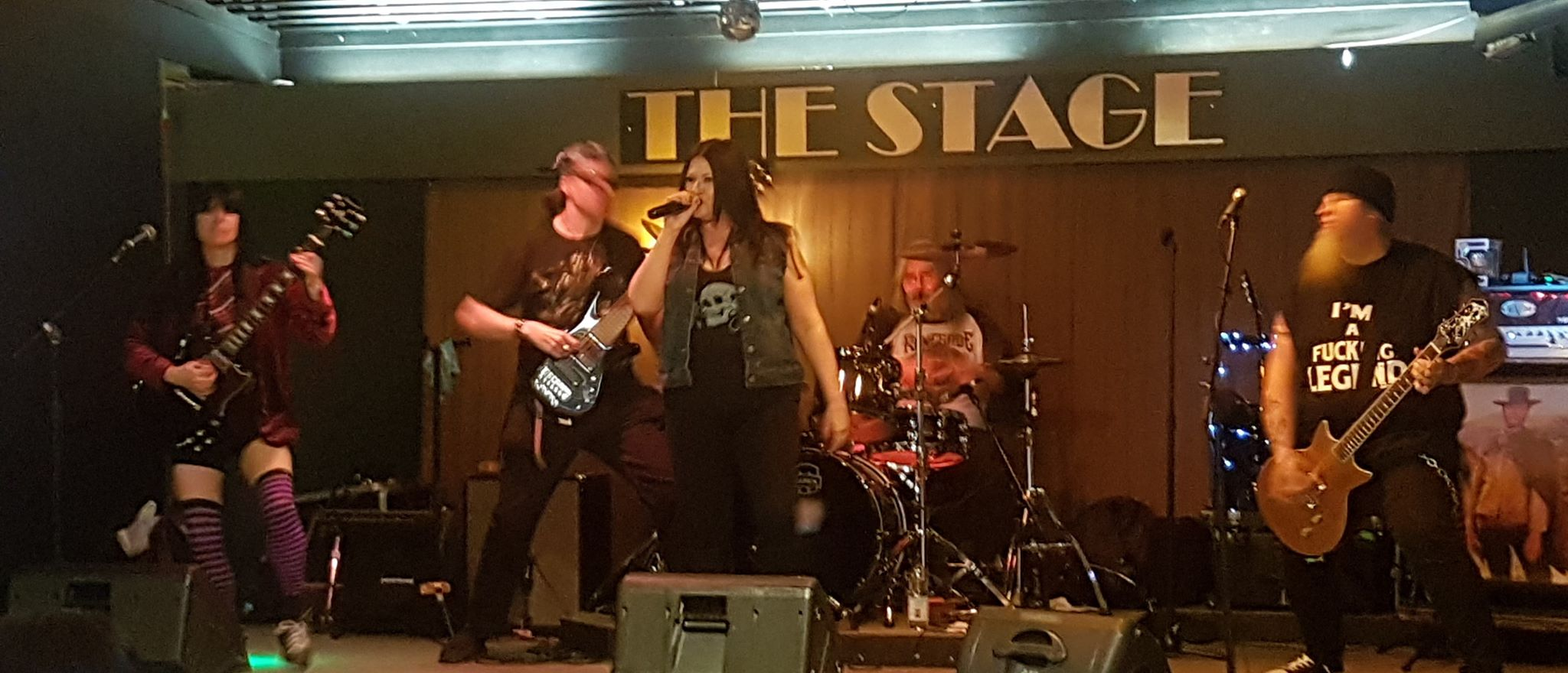 All five band members of Bonnie Scott Tribute to Ac/DC on Stage